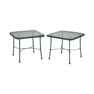 Woodard Pair of Green Metal Glass Top Patio Side Tables