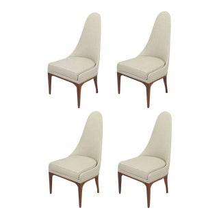 Set Four Rosewood & Linen Spoon-Back Dining Chairs