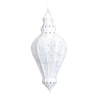 Contemporary Moroccan White Painted Metal Lamp