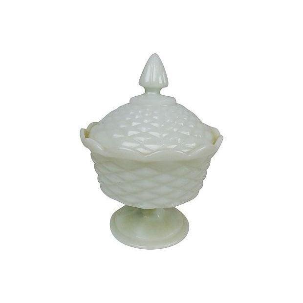 Milk Glass Pedestal Candy Dish - Image 3 of 3