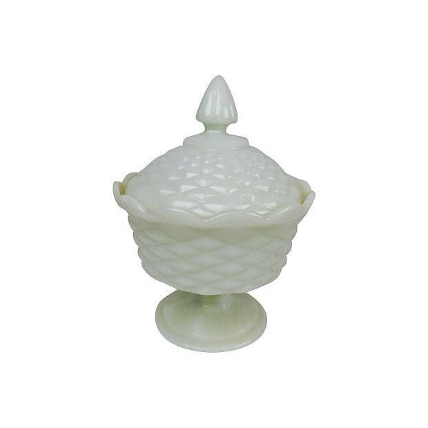 Image of Milk Glass Pedestal Candy Dish