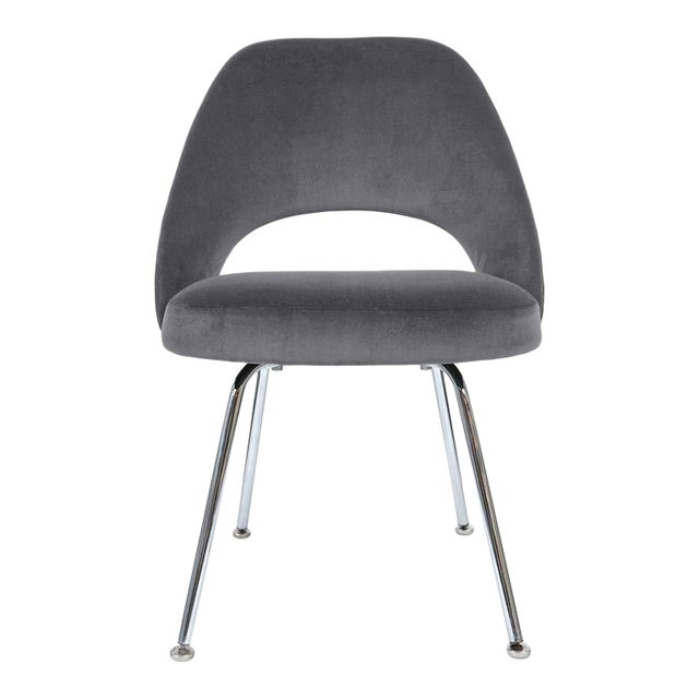 Saarinen Executive Armless Chair in Gunmetal Grey Velvet - Image 1 of 3