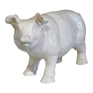 Mid-Century French Faience Pig