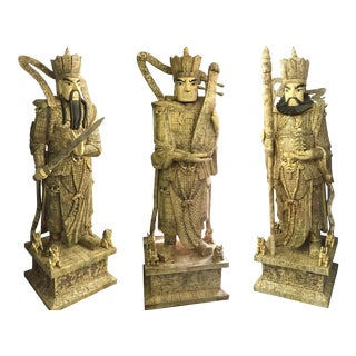 Three Life-Size Buddhist Temple Carved Bone Heavenly King, Fēng Tiáo Yǔ Shùn, Shitennō Statues