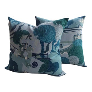 Schumacher Pillows in Pearl River in Sea Colorway - a Pair