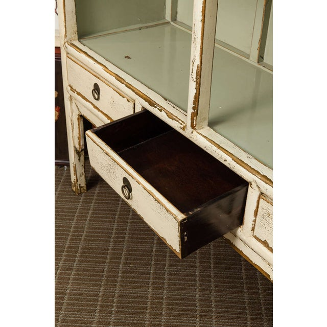 Chinese Cream Lacquered Open Shelf Cabinet - Image 6 of 6