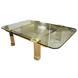 Italian/Belgium Solid Brass/ Glass Gabriella Crespi Style Cocktail Table/ Coffee Table
