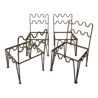 Sculptural Modernist Iron Patio Chairs - Set of 4