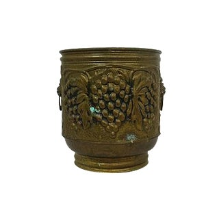 English Brass Grape Vine Relief Planter