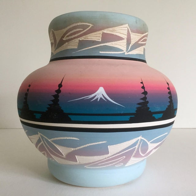 Vintage Signed Navajo Native American Pink Mesa Sunset Hand Painted Pottery Vase - Image 10 of 11