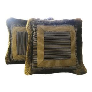 Houles Citron Stripe Throw Pillows - A Pair