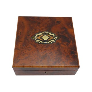 Antique English Burl Wood Jewelry Box