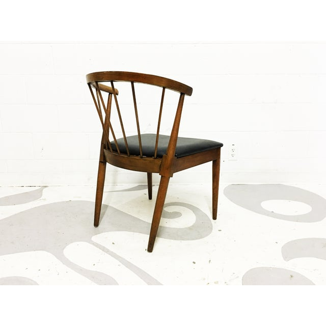 Mid Century Modern Chair Spindle Back Walnut Chair - Image 6 of 6