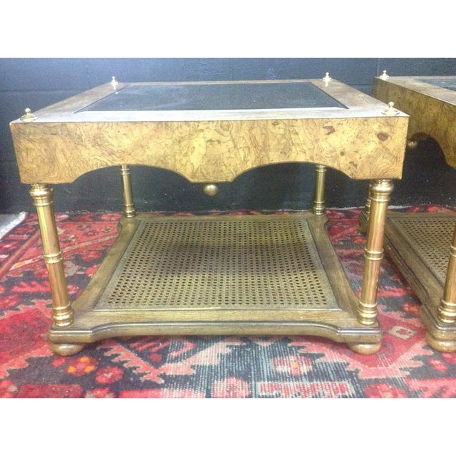 Image of Burl Wood and Brass Regency Style Tables - A Pair