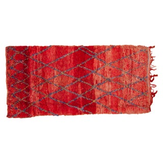 "Vintage Red Moroccan Rug - 4'7"" x 9'5"""
