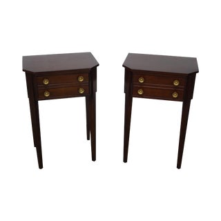 Hepplewhite Style Mahogany Single Drawer Nightstands- A Pair