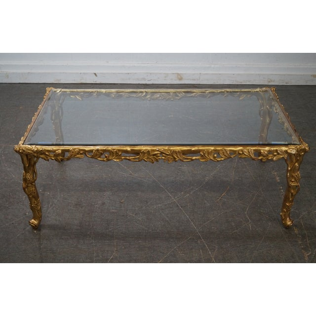 French Gilt Coffee Table: Quality French Carved Gilt Wood Faux Bois Glass Top Coffee