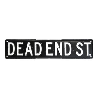 Black & White Dead End Street Sign, 1950s