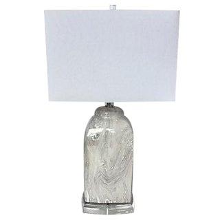 Gray & White Marbled Ceramic Lamp