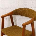 Image of Danish Modern Yellow Tweed Fabric Accent Armchair