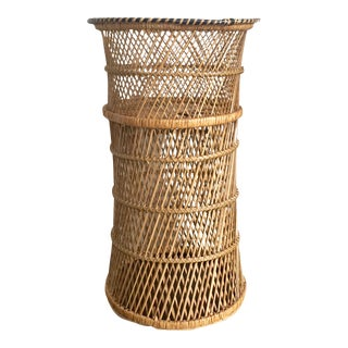 Vintage Boho Wicker Plant Stand With Geometric Accents