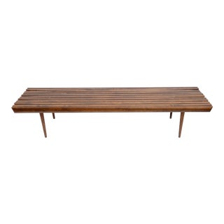"Mid-Century Modern 72"" Solid Walnut Platform Slat Bench Coffee Table"
