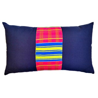 Vintage African Kente Cloth Lumbar Pillow Cover