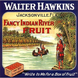 Fancy Indian River Fruit, Jacksonville, Florida - Vintage Florida Citrus Crate Label Fine Art Print