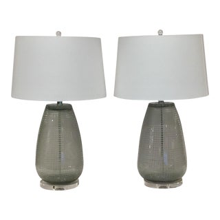 MagMile Lighting Smoked Etched Glass Lamps - A Pair