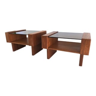 1970's Danish Modern Brutalist Teak Tables - A Pair