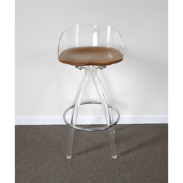 Lucite & Wood Bar Stool - Image 4 of 9