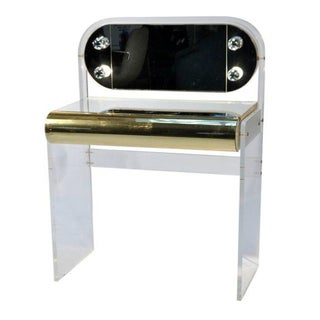 Hollywood Regency Lucite Mirrored Vanity Table