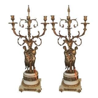 Gilt Bronze Double Figure Candelabras - A Pair