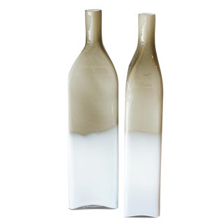 Pair Mid Century Cased Glass Bottles