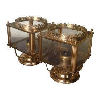 Vintage Brass Flush Mount Ceiling Lights - Pair