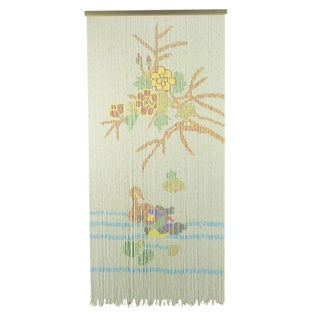 1940s Beaded Curtain Or Tapestry Depicting Flora & Fauna