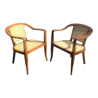 Edward Wormley Style Armchairs in Walnut & Cane - A Pair