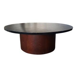 Vintage Retro 1970's Black Slate Stone Top Walnut Base Round Coffee Table