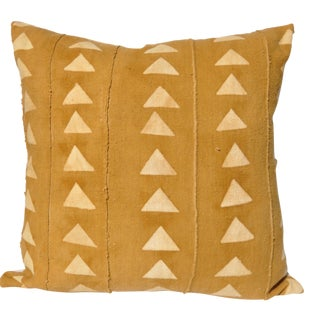 "African Mudcloth Mustard Yellow Pillow - 22"" x 22"""