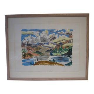 Watercolor 'Breaking Clouds Over Jasper Lake'