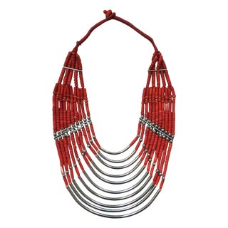 Red & Silver Tribal Statement Necklace