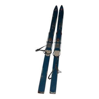 Vintage Blue Child's Skis - A Pair