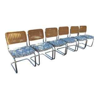 Chrome & Rattan Cantilevered Dining Chairs - 6
