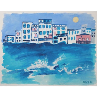 Greek Island Seascape Abstract Painting by Cleo