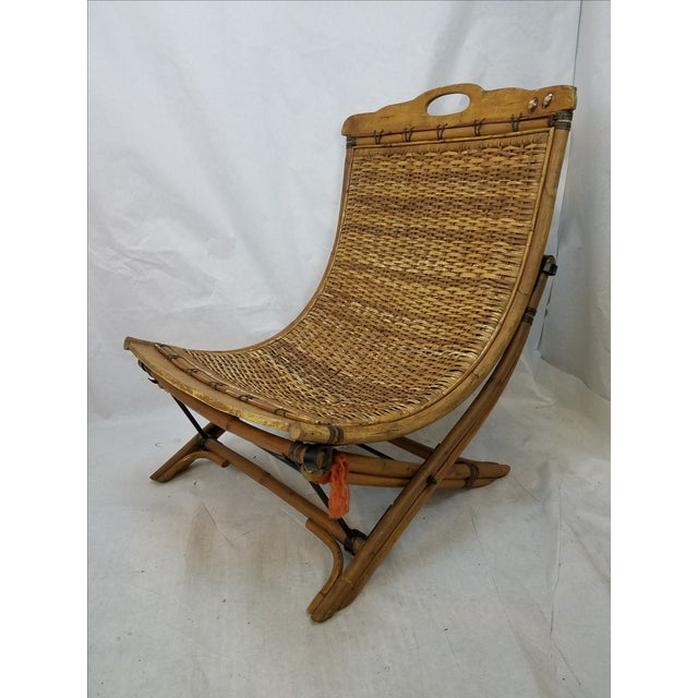 Vintage Rattan Sling Chair With Ottoman - Image 3 of 8