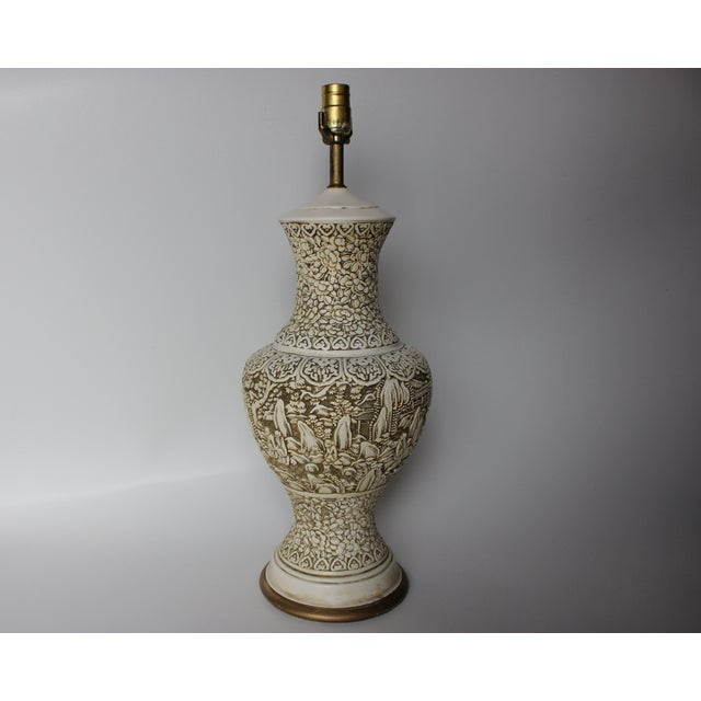 Plaster Relief Table Lamp with Floral Landscape - Image 2 of 7