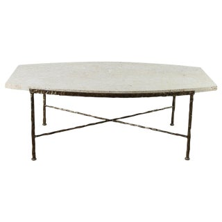Paul Marra Ellipse Cocktail Table in Textured Gold Iron and Coral Stone
