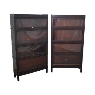 Hale Antique Mahogany Barrister Bookcases - A Pair
