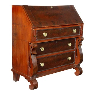Restoration Slant-Top Desk with Gothic Scroll Embellishment