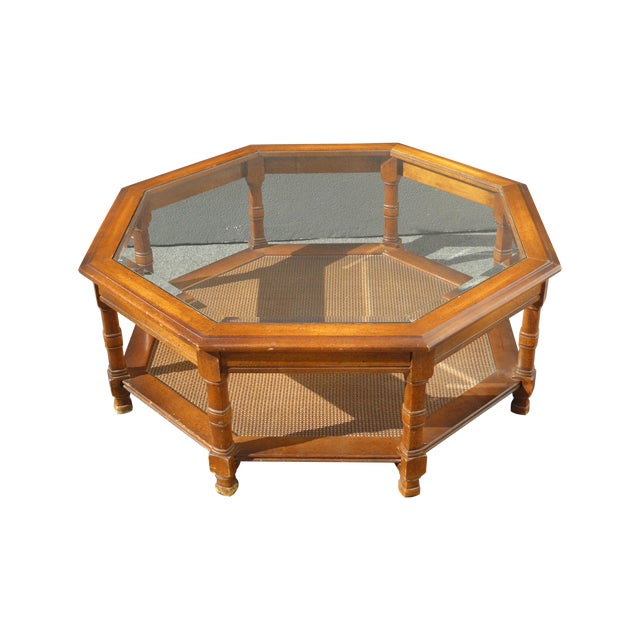 Mid century octagon beveled glass top coffee table chairish for Octagon coffee table